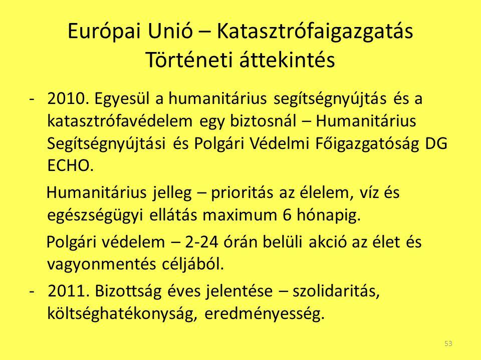 Európai Unió – Katasztrófaigazgatás Történeti áttekintés