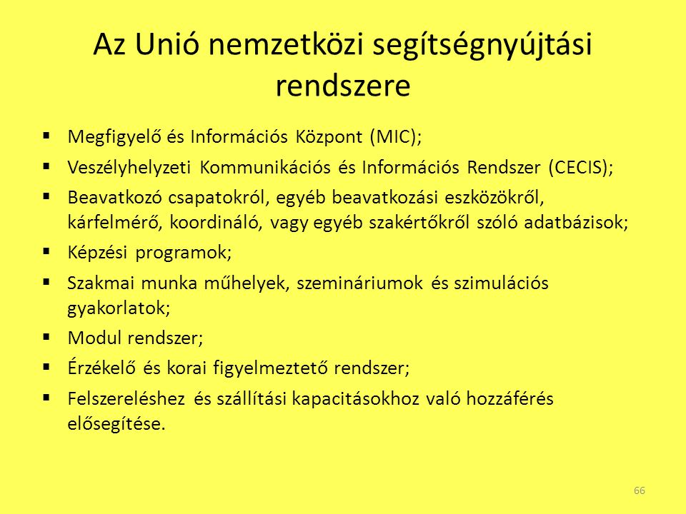 Az Unió nemzetközi segítségnyújtási rendszere