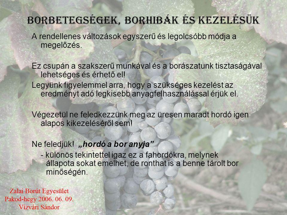 BORBETEGSÉGEK, BORHIBÁK ÉS KEZELÉSÜK