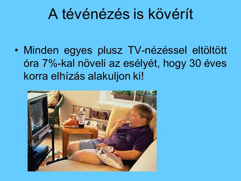 A tévénézés is kövérít Minden egyes plusz TV-nézéssel eltöltött óra 7%-kal növeli az esélyét, hogy 30 éves korra elhízás alakuljon ki!