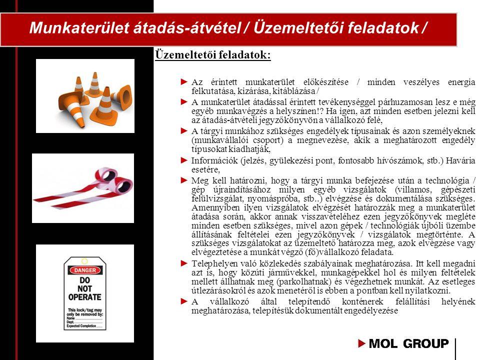 Munkaterület átadás-átvétel / Üzemeltetői feladatok /