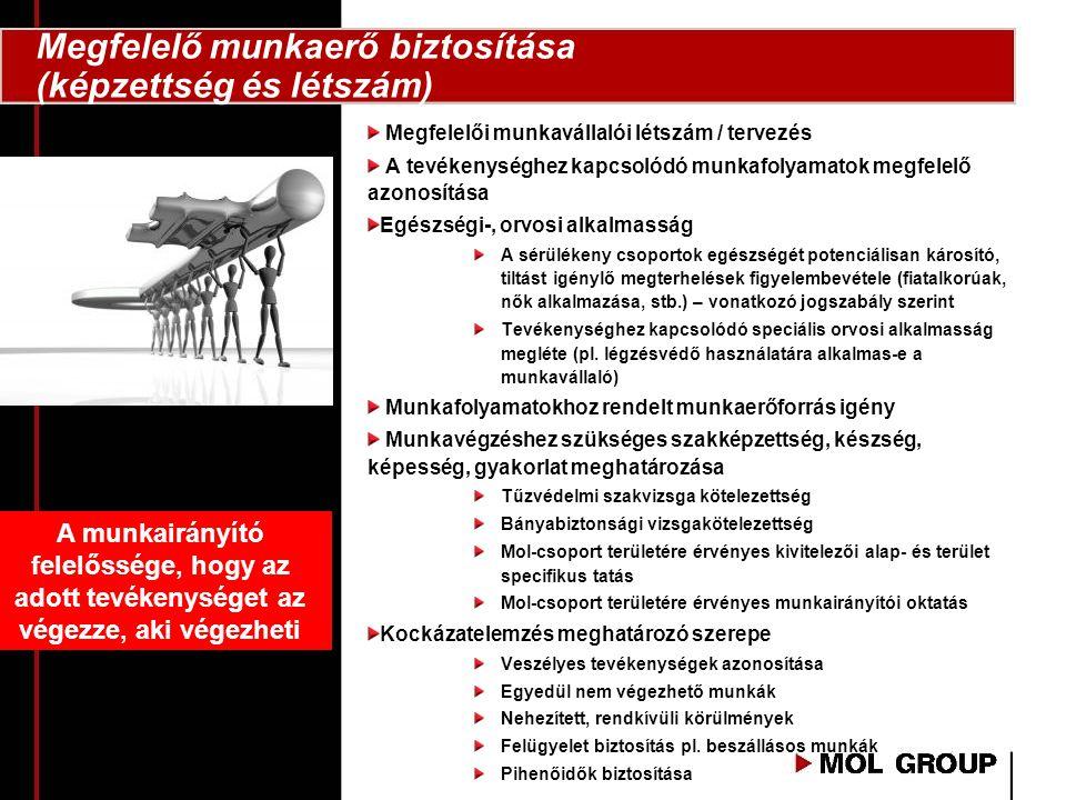 Megfelelő munkaerő biztosítása (képzettség és létszám)