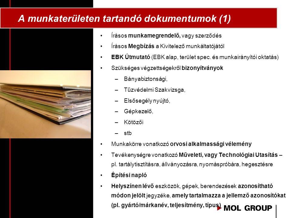 A munkaterületen tartandó dokumentumok (1)