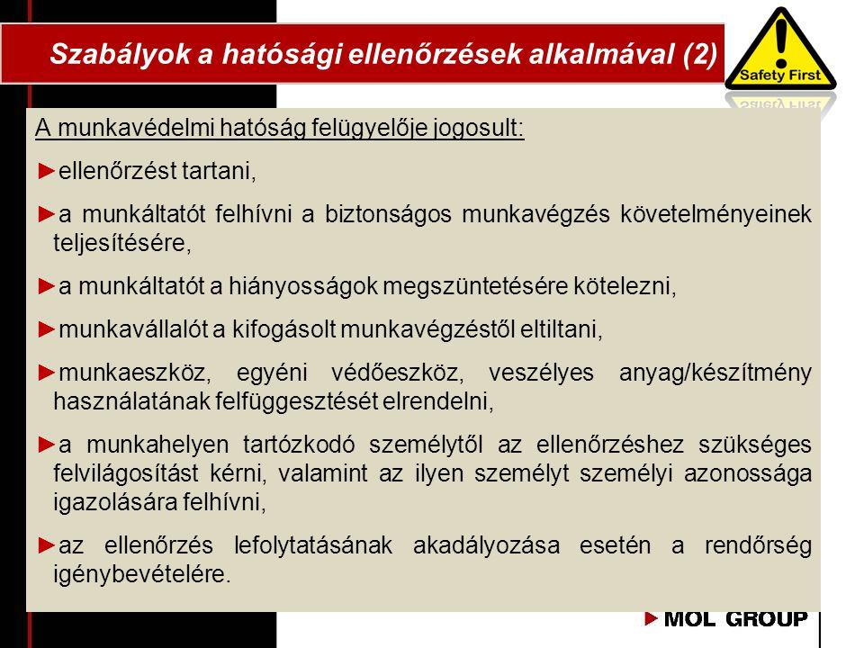 Szabályok a hatósági ellenőrzések alkalmával (2)