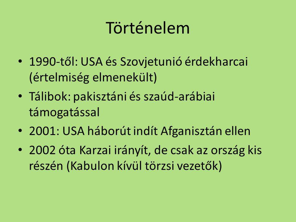 Történelem 1990-től: USA és Szovjetunió érdekharcai (értelmiség elmenekült) Tálibok: pakisztáni és szaúd-arábiai támogatással.
