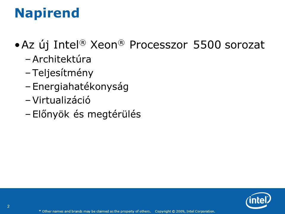 Napirend Az új Intel® Xeon® Processzor 5500 sorozat Architektúra