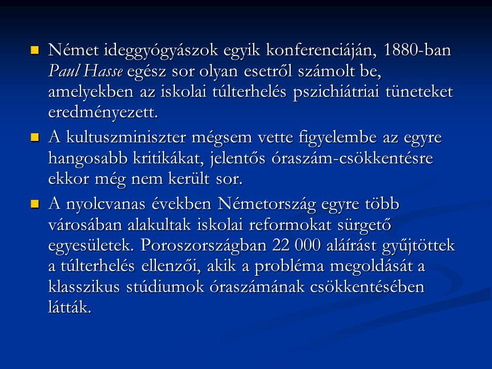 Német ideggyógyászok egyik konferenciáján, 1880-ban Paul Hasse egész sor olyan esetről számolt be, amelyekben az iskolai túlterhelés pszichiátriai tüneteket eredményezett.