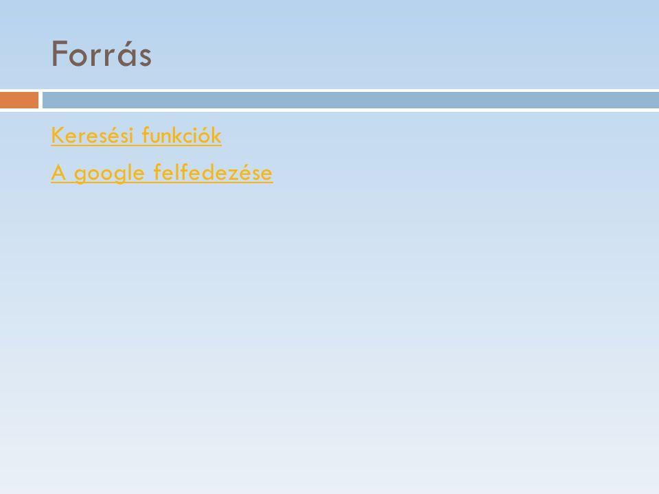 Forrás Keresési funkciók A google felfedezése
