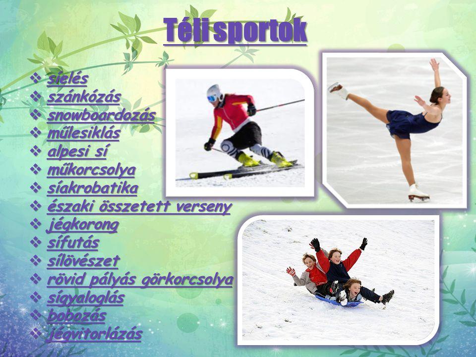 Téli sportok síelés szánkózás snowboardozás műlesiklás alpesi sí