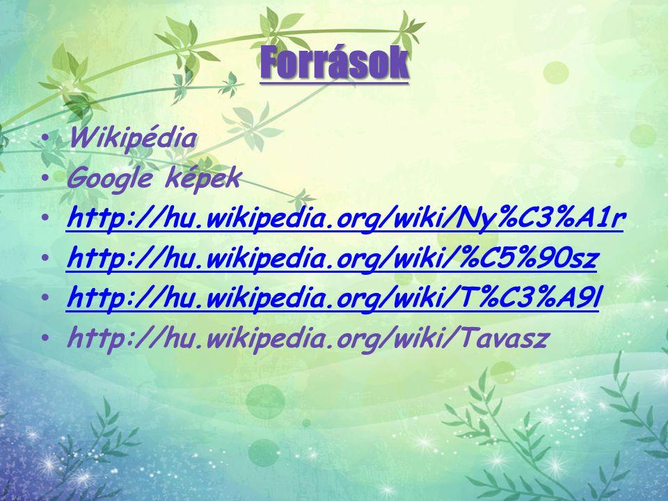 Források Wikipédia Google képek http://hu.wikipedia.org/wiki/Ny%C3%A1r