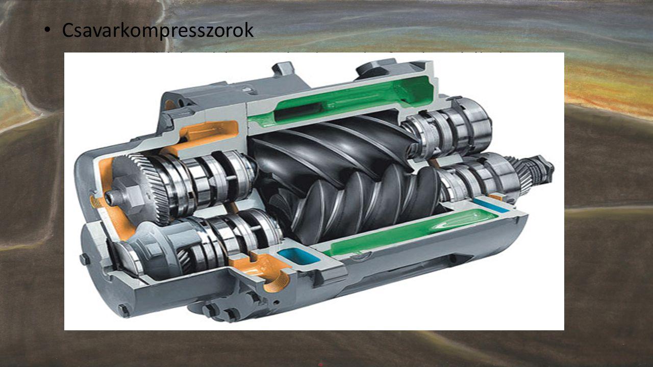 Csavarkompresszorok Levegő sűrítése: két egymással szembe forgó orsó által.