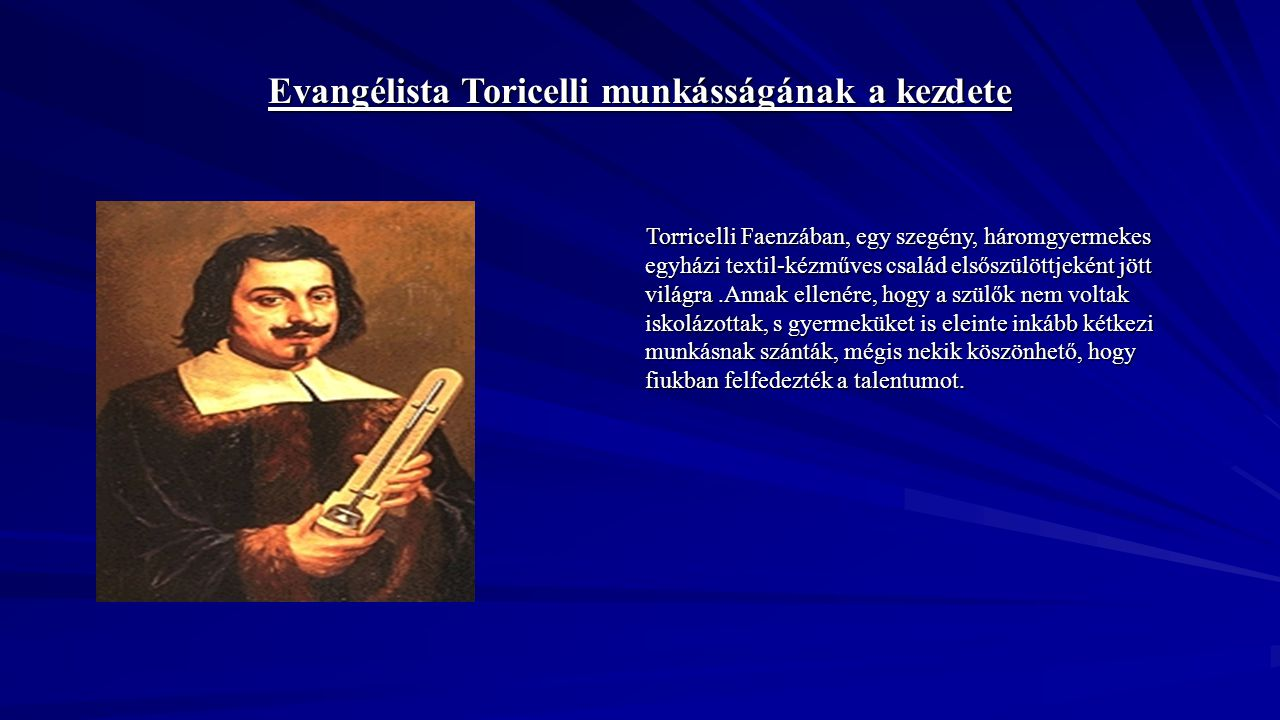 Evangélista Toricelli munkásságának a kezdete