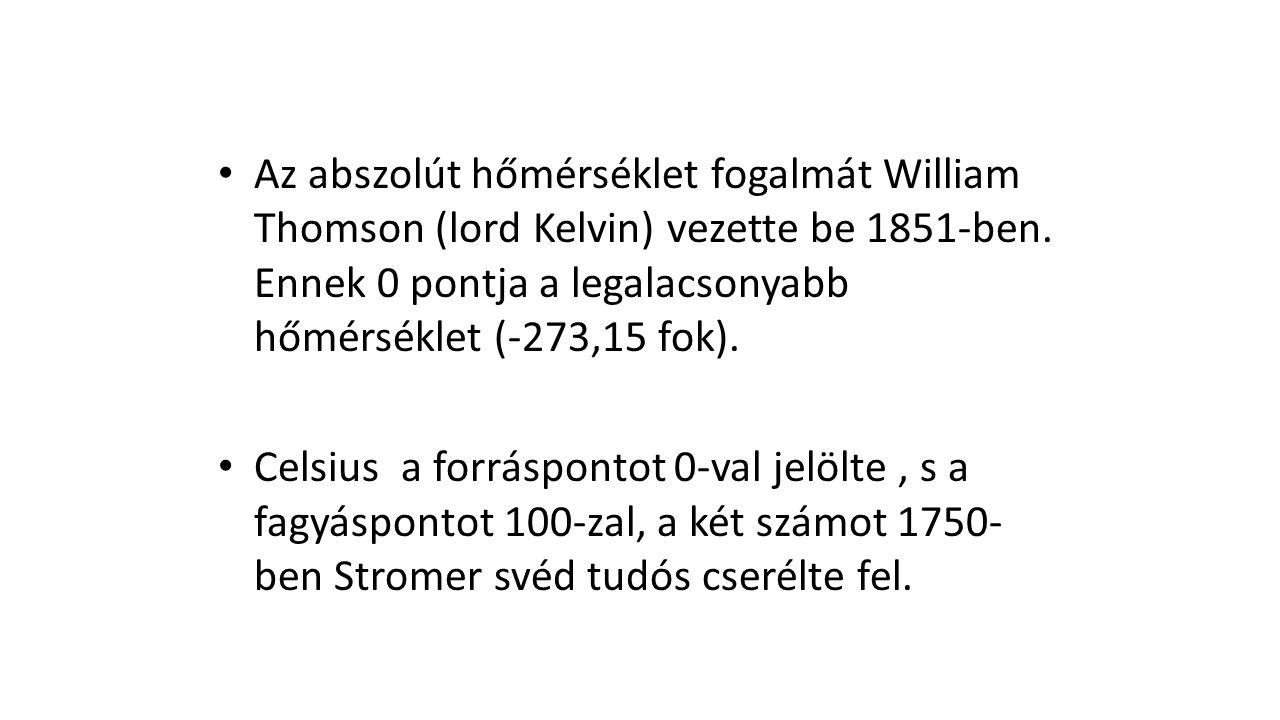 Az abszolút hőmérséklet fogalmát William Thomson (lord Kelvin) vezette be 1851-ben. Ennek 0 pontja a legalacsonyabb hőmérséklet (-273,15 fok).
