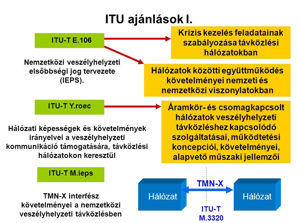 ITU ajánlások I. Krízis kezelés feladatainak szabályozása távközlési hálózatokban. ITU-T E.106.