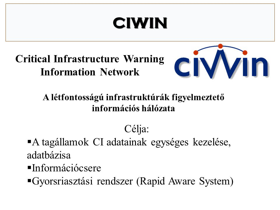 CIWIN Critical Infrastructure Warning Information Network Célja: