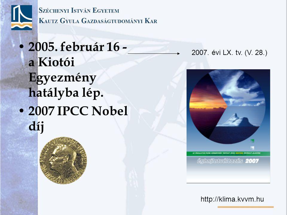 2005. február 16 - a Kiotói Egyezmény hatályba lép.