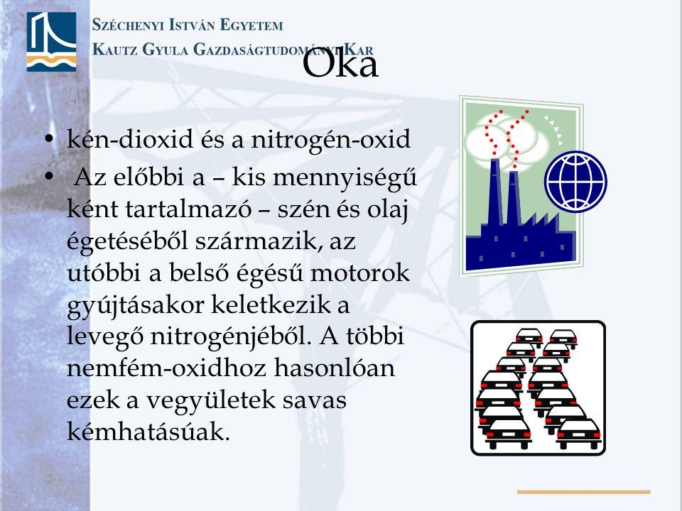 Oka kén-dioxid és a nitrogén-oxid