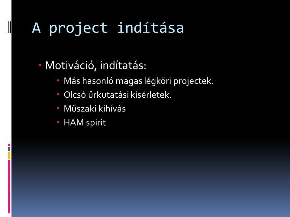 A project indítása Motiváció, indítatás: