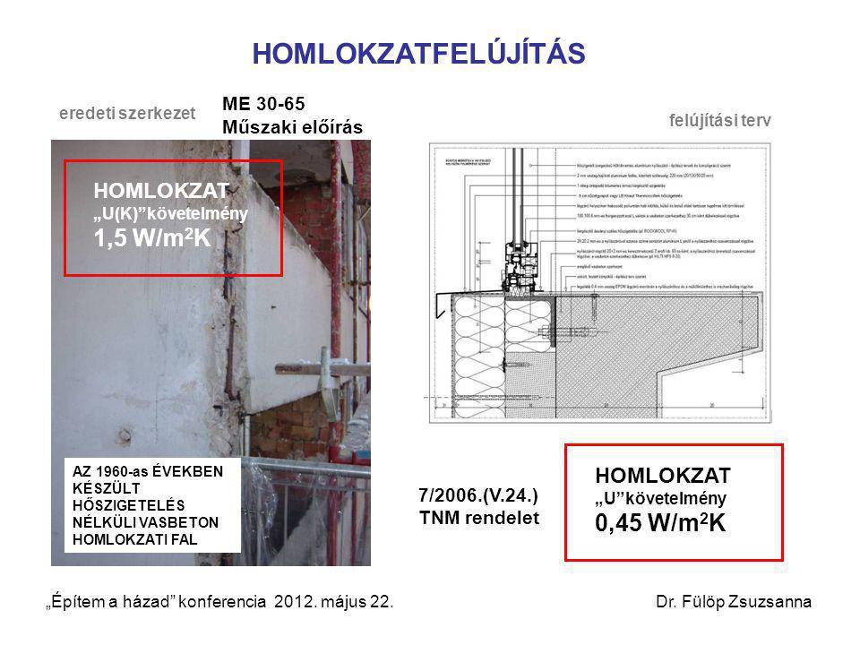"""HOMLOKZATFELÚJÍTÁS HOMLOKZAT """"U(K) követelmény 1,5 W/m2K"""