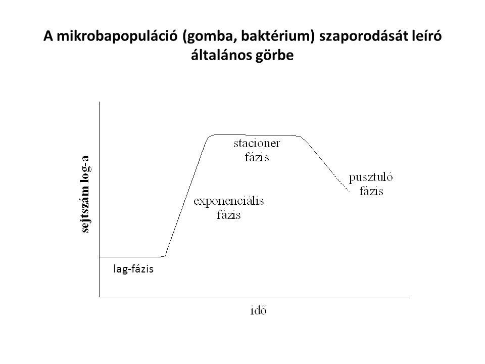 A mikrobapopuláció (gomba, baktérium) szaporodását leíró általános görbe