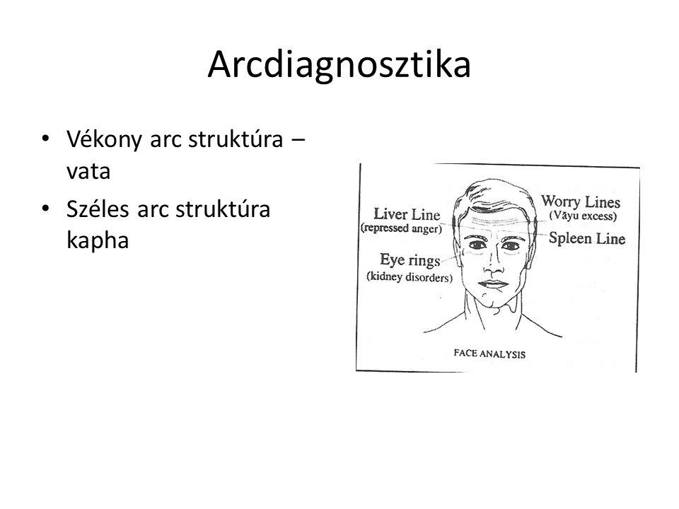 Arcdiagnosztika Vékony arc struktúra – vata Széles arc struktúra kapha