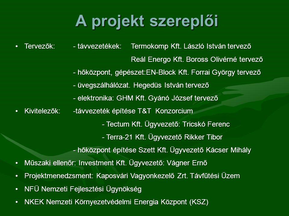 A projekt szereplői Tervezők: - távvezetékek: Termokomp Kft. László István tervező. Reál Energo Kft. Boross Olivérné tervező.
