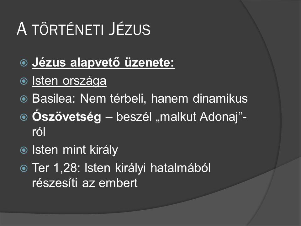 A történeti Jézus Jézus alapvető üzenete: Isten országa