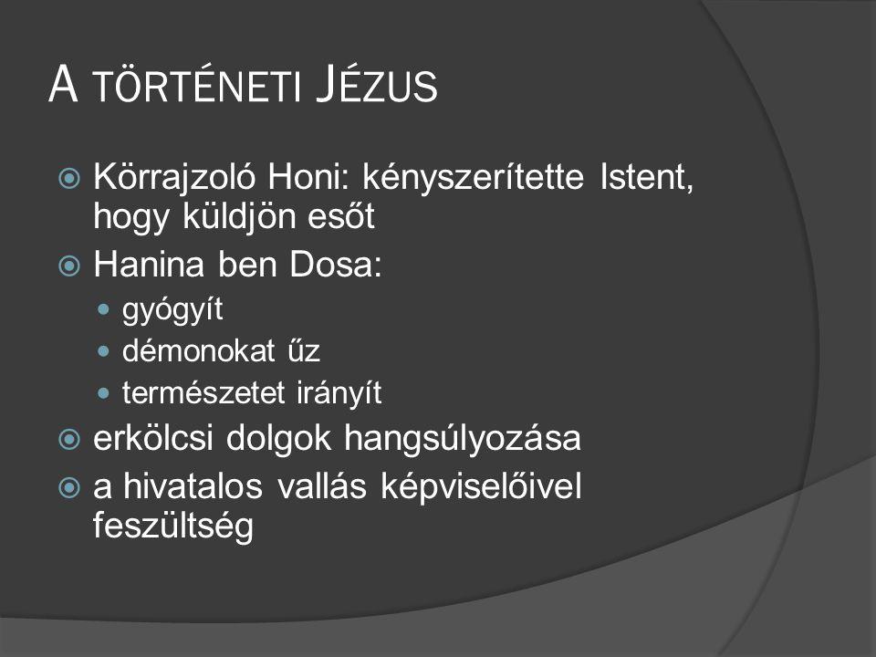 A történeti Jézus Körrajzoló Honi: kényszerítette Istent, hogy küldjön esőt. Hanina ben Dosa: gyógyít.