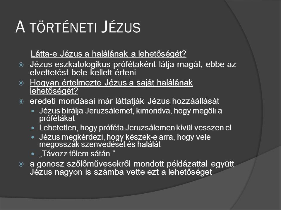 A történeti Jézus Látta-e Jézus a halálának a lehetőségét