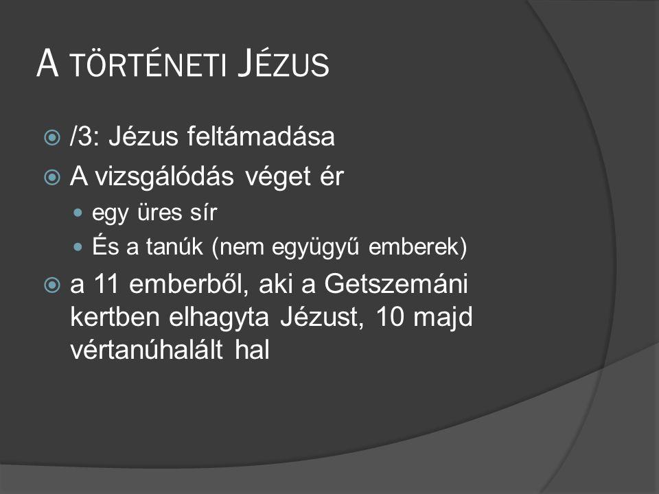 A történeti Jézus /3: Jézus feltámadása A vizsgálódás véget ér
