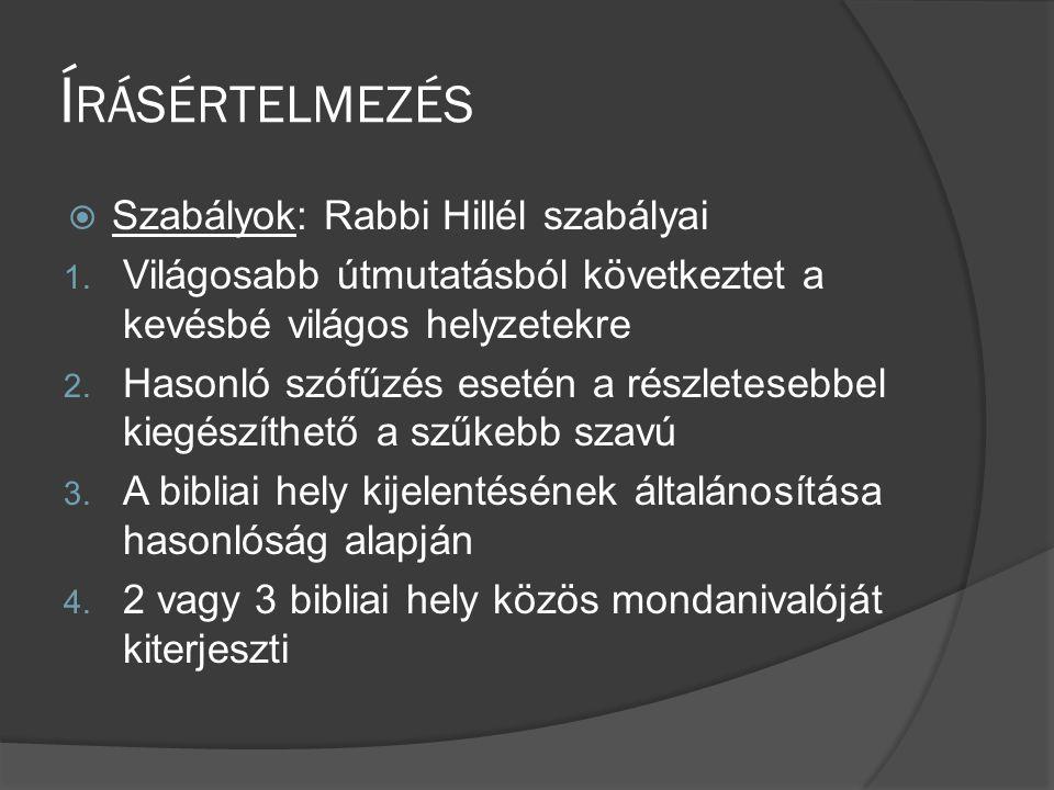 Írásértelmezés Szabályok: Rabbi Hillél szabályai