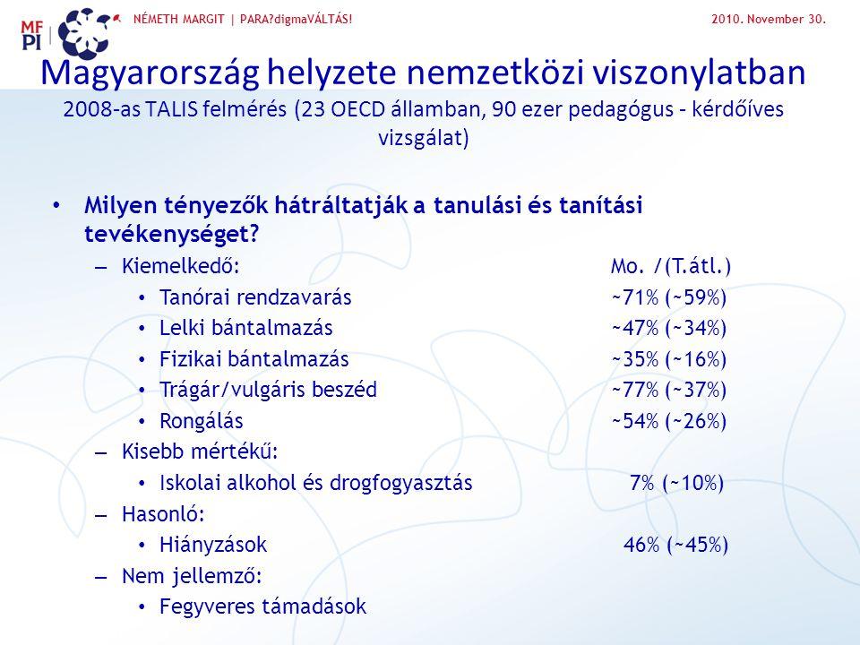 2010. November 30. Magyarország helyzete nemzetközi viszonylatban 2008-as TALIS felmérés (23 OECD államban, 90 ezer pedagógus - kérdőíves vizsgálat)