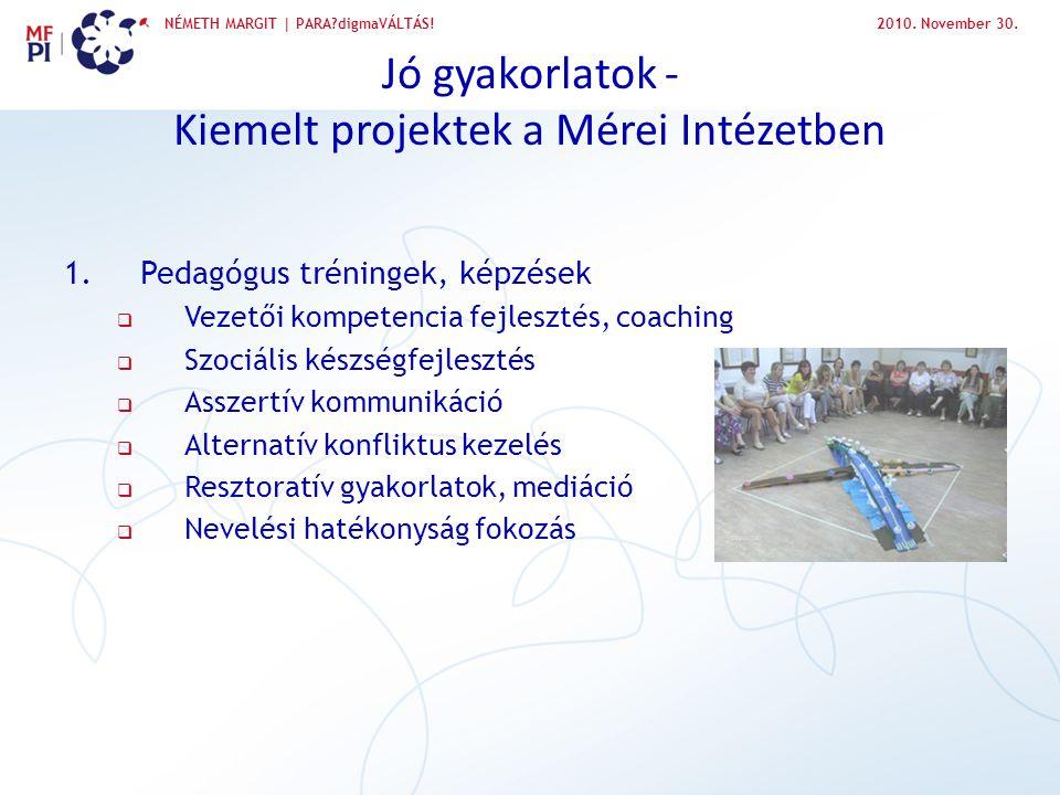 Jó gyakorlatok - Kiemelt projektek a Mérei Intézetben