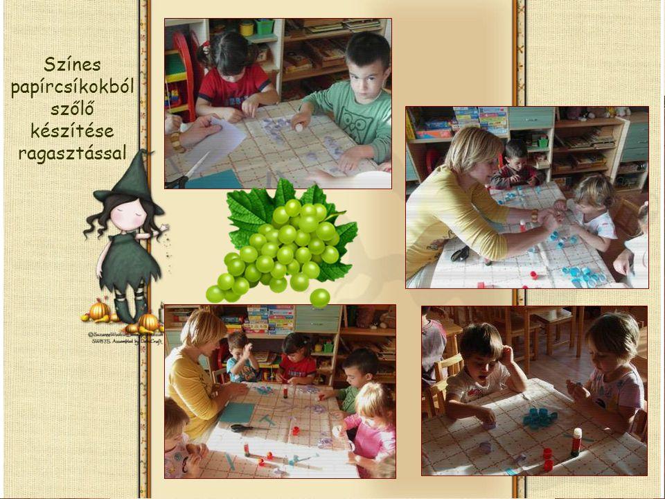 Színes papírcsíkokból szőlő készítése ragasztással