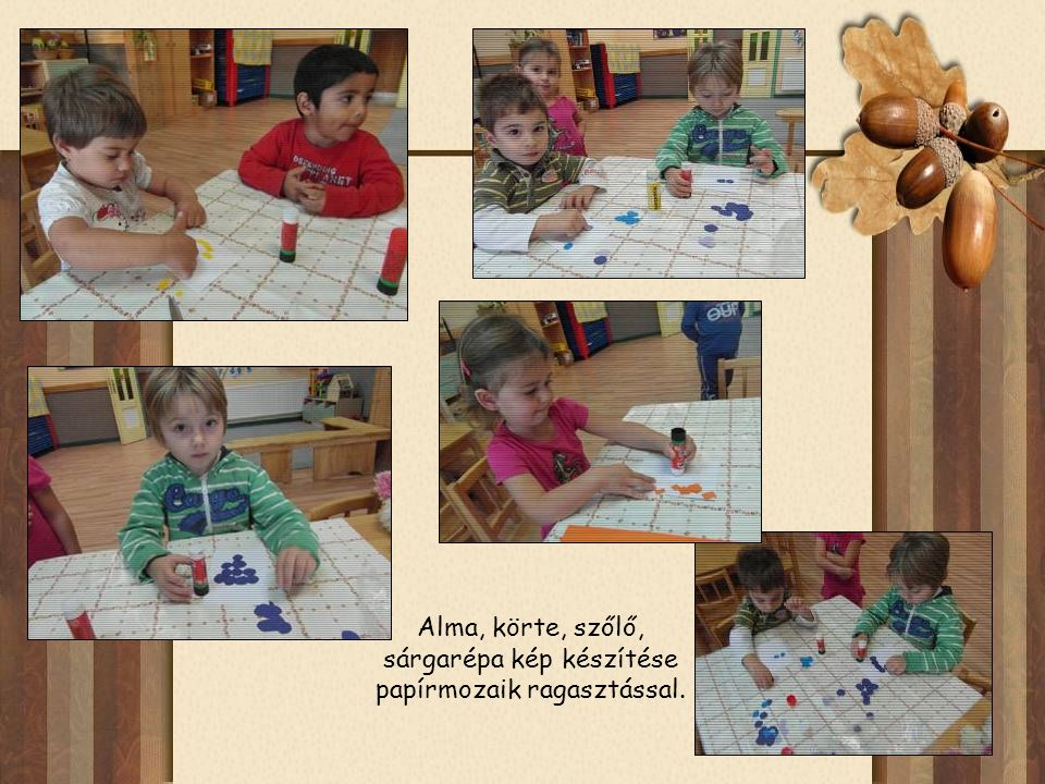 Alma, körte, szőlő, sárgarépa kép készítése papírmozaik ragasztással.