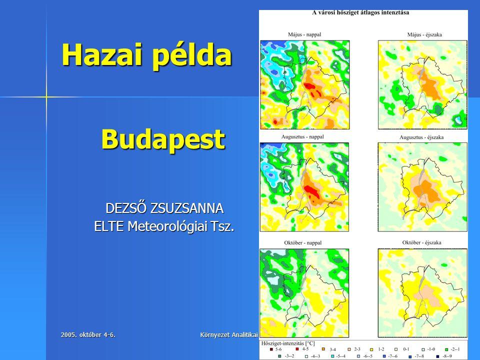 Hazai példa Budapest DEZSŐ ZSUZSANNA ELTE Meteorológiai Tsz.