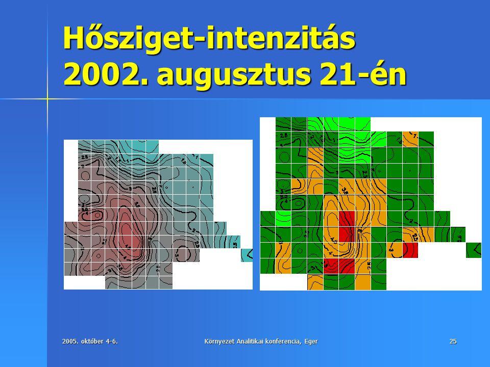 Hősziget-intenzitás 2002. augusztus 21-én