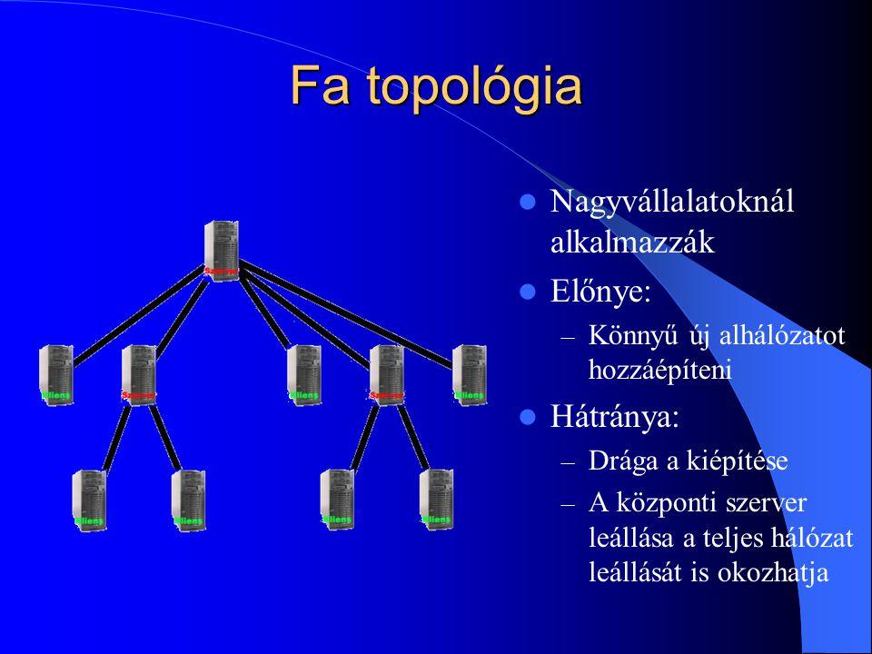 Fa topológia Nagyvállalatoknál alkalmazzák Előnye: Hátránya: