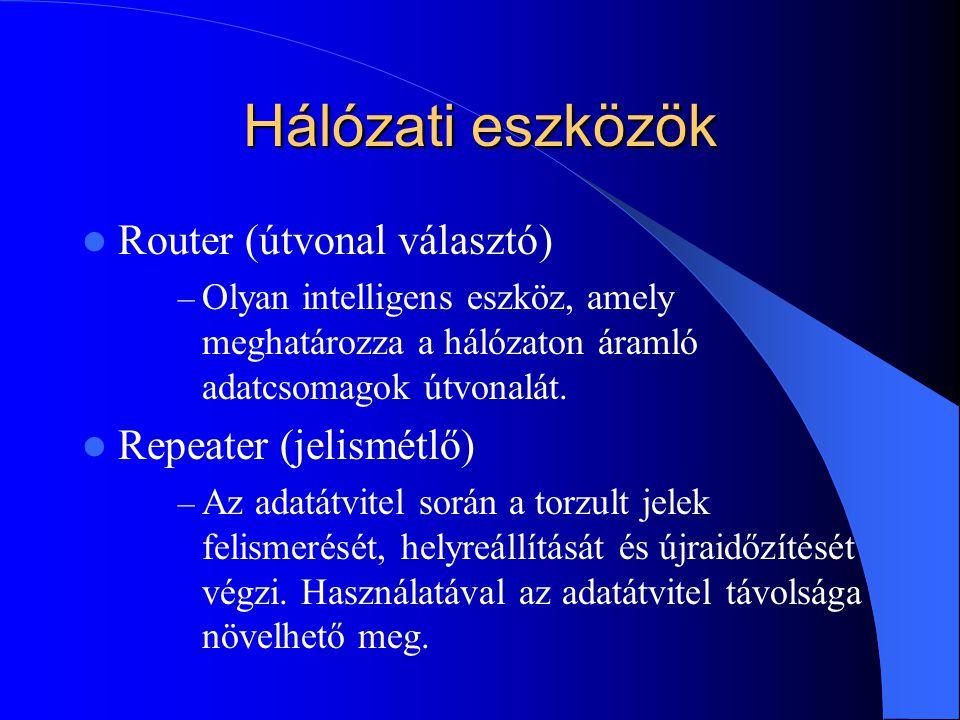 Hálózati eszközök Router (útvonal választó) Repeater (jelismétlő)