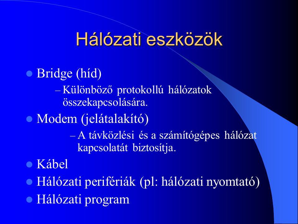 Hálózati eszközök Bridge (híd) Modem (jelátalakító) Kábel