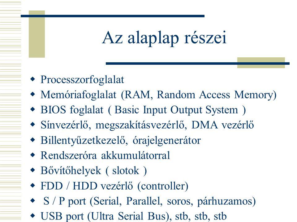 Az alaplap részei Processzorfoglalat