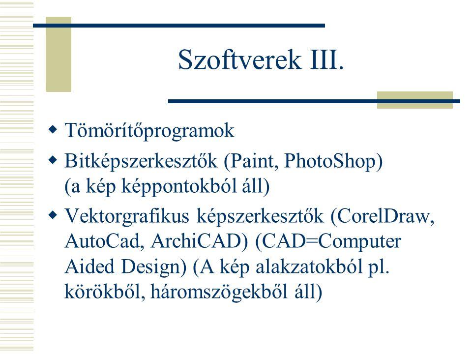 Szoftverek III. Tömörítőprogramok