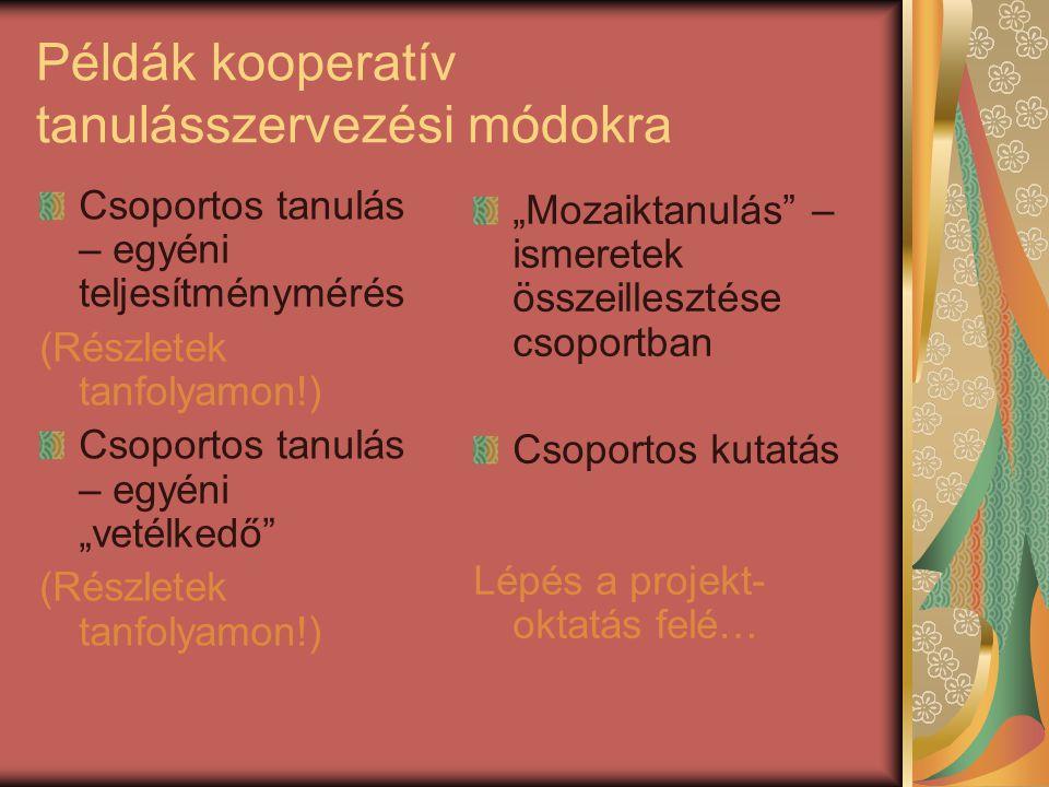 Példák kooperatív tanulásszervezési módokra
