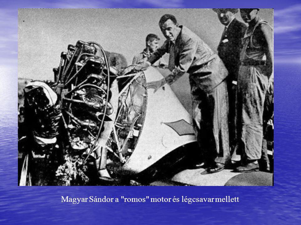Magyar Sándor a romos motor és légcsavar mellett