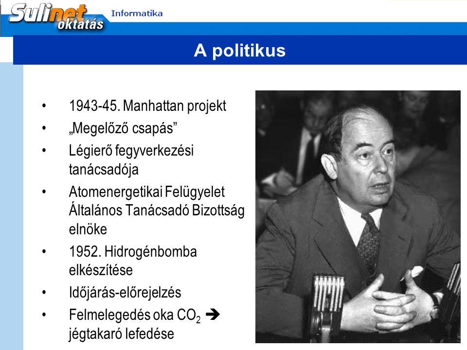 """A politikus 1943-45. Manhattan projekt """"Megelőző csapás"""