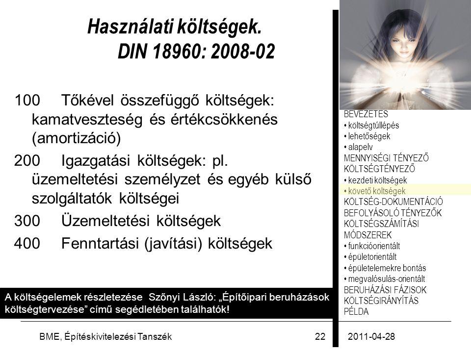 Használati költségek. DIN 18960: 2008-02