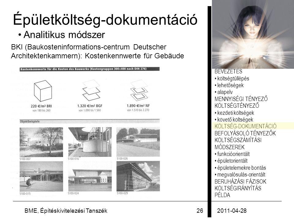 Épületköltség-dokumentáció
