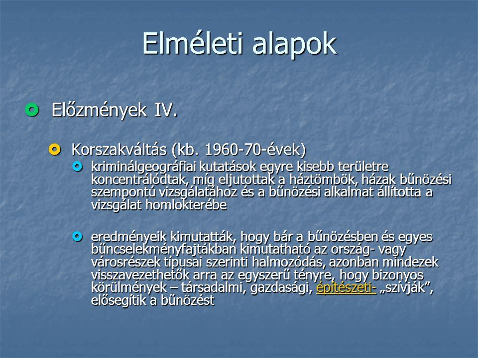 Elméleti alapok Előzmények IV. Korszakváltás (kb. 1960-70-évek)
