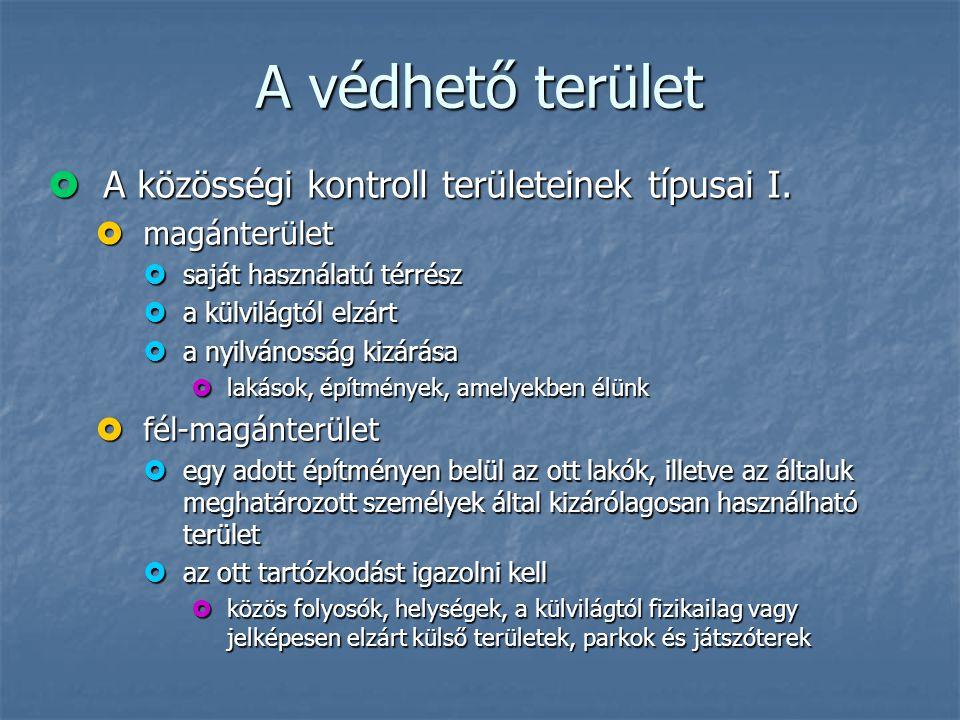 A védhető terület A közösségi kontroll területeinek típusai I.