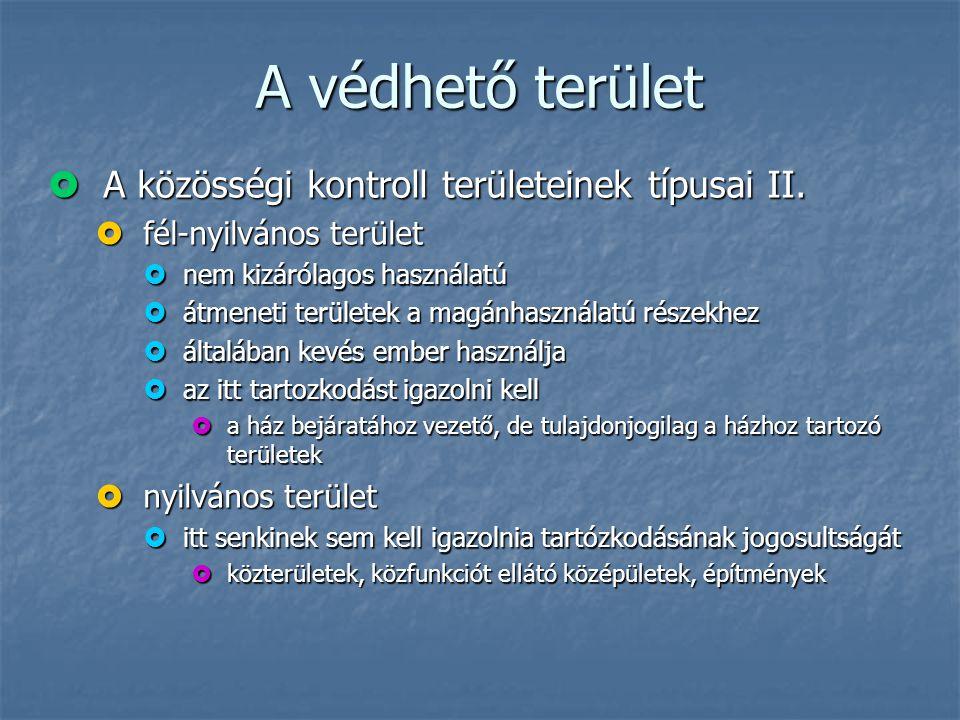 A védhető terület A közösségi kontroll területeinek típusai II.